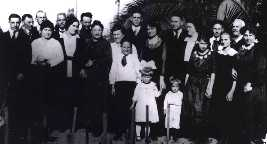 Gathering of the California Dontanville / Dondanvilles on  the occasion of the visit of Dan (1.6) and Mary Ellen  Dondanville and their daughter Ellie and son-in-law Dr. William Fread to Los Angeles, 1921.