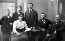 Alphonse (right) with his children , (from left): Cyril (24.6) Auguste (24.5), Ernest (24.2), Aloysius (24.1), and Odile (24.3).Taken in Ville just prior to Ernest's departure fo the United States in 1913.