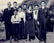 Emile Dondanville, Mary Schumacher Family, California 		1920. L to R: Emile, Edward, Theodore (front), Mary, 		Joseph, Mary Brooks Yuan, Louis John, and Fredrich.